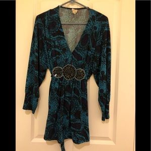 Extra Long Yvos Purple/Turquoise Knit Top